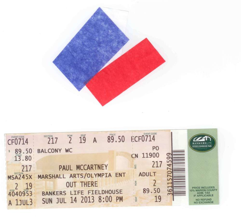 Confetti and ticket stub memorabilia.